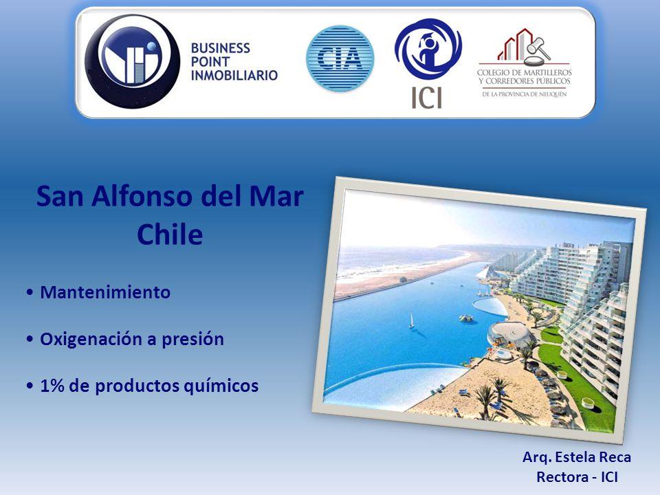San Alfonso del Mar Chile Mantenimiento Oxigenación a presión 1% de productos químicos Arq.
