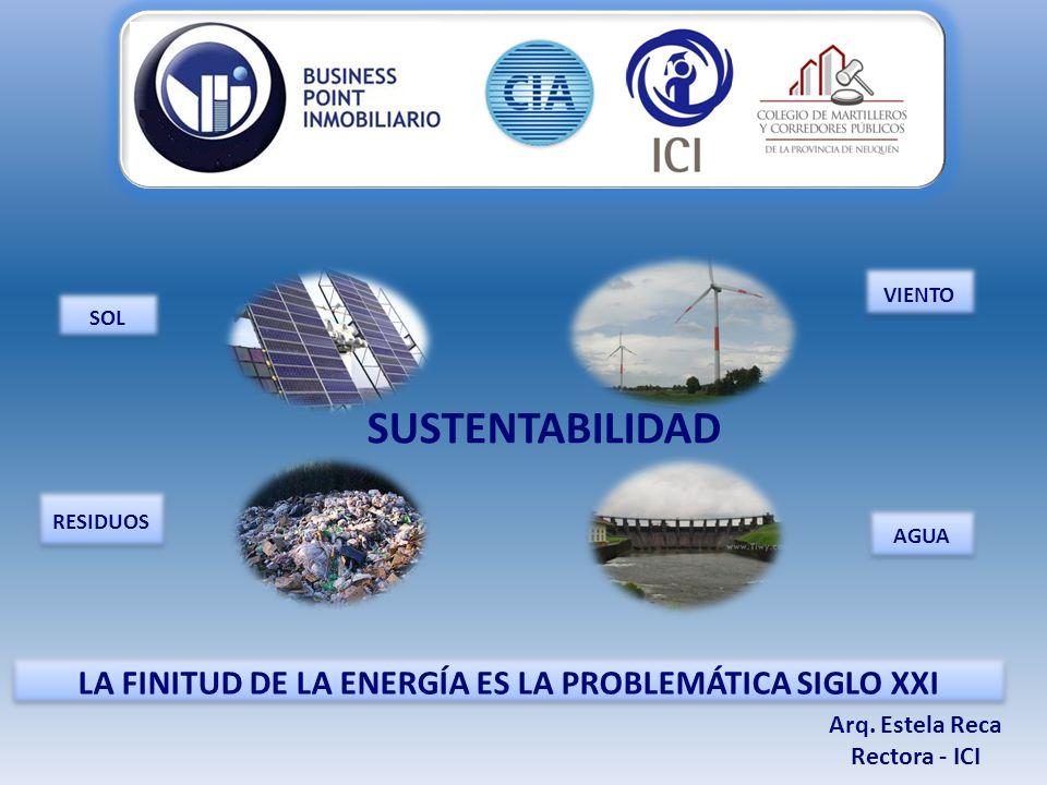 VIENTO SOL AGUA RESIDUOS LA FINITUD DE LA ENERGÍA ES LA PROBLEMÁTICA SIGLO XXI Arq.