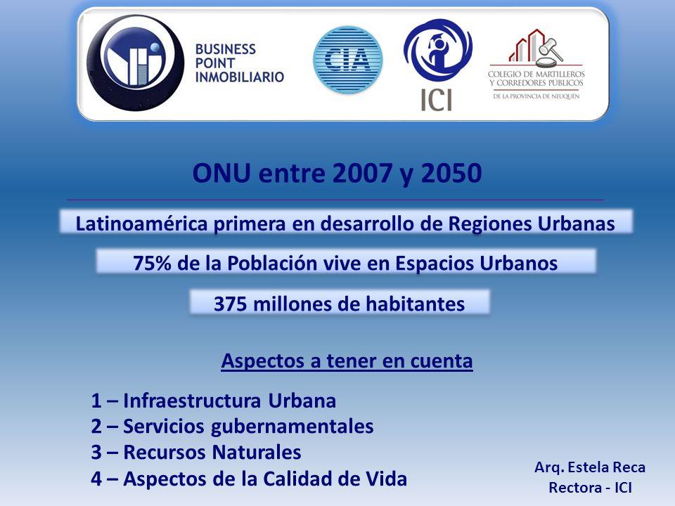 ONU entre 2007 y 2050 Latinoamérica primera en desarrollo de Regiones Urbanas 375 millones de habitantes Aspectos a tener en cuenta 1 – Infraestructura Urbana 2 – Servicios gubernamentales 3 – Recursos Naturales 4 – Aspectos de la Calidad de Vida 75% de la Población vive en Espacios Urbanos Arq.