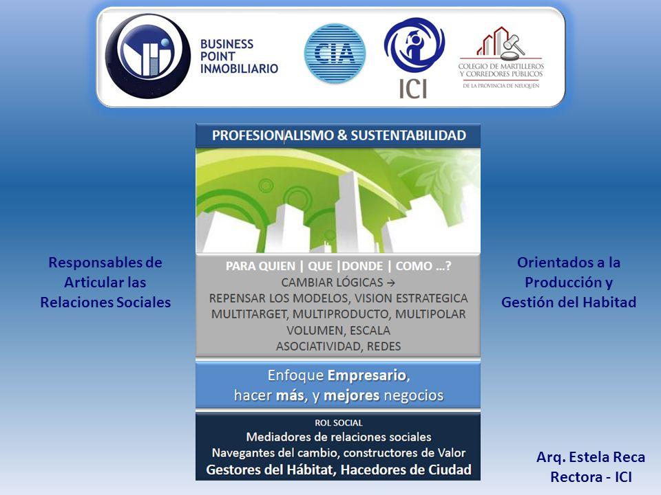 Arq. Estela Reca Rectora - ICI Responsables de Articular las Relaciones Sociales Orientados a la Producción y Gestión del Habitad