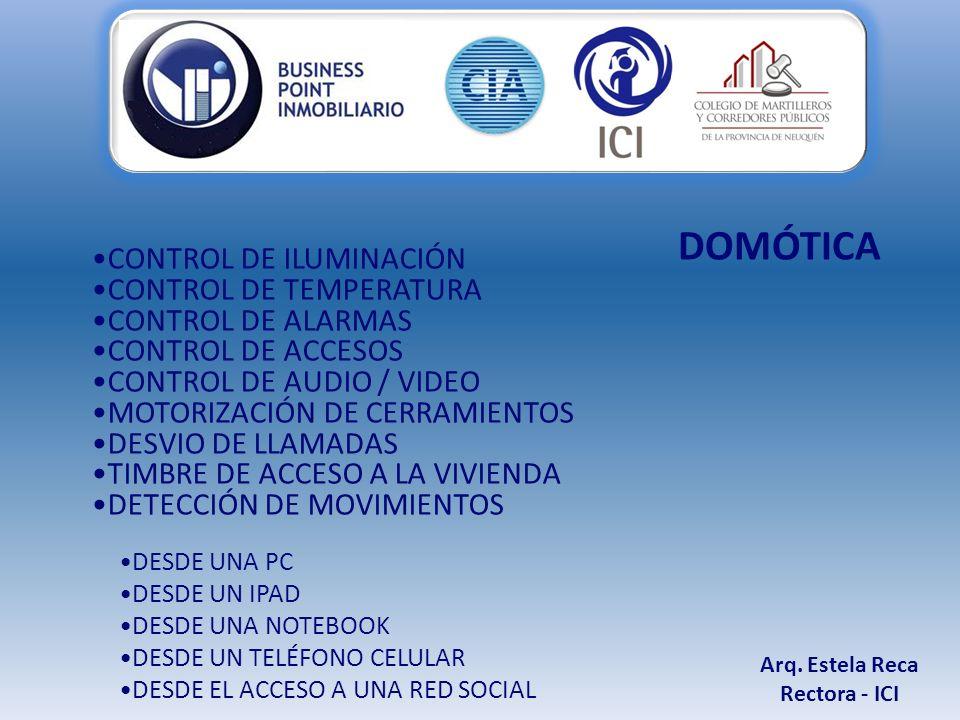 CONTROL DE ILUMINACIÓN CONTROL DE TEMPERATURA CONTROL DE ALARMAS CONTROL DE ACCESOS CONTROL DE AUDIO / VIDEO MOTORIZACIÓN DE CERRAMIENTOS DESVIO DE LLAMADAS TIMBRE DE ACCESO A LA VIVIENDA DETECCIÓN DE MOVIMIENTOS DESDE UNA PC DESDE UN IPAD DESDE UNA NOTEBOOK DESDE UN TELÉFONO CELULAR DESDE EL ACCESO A UNA RED SOCIAL Arq.