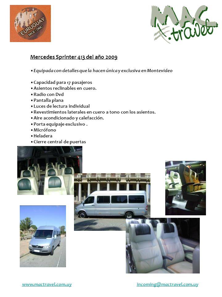 Mercedes Sprinter 413 del año 2009 Equipada con detalles que la hacen única y exclusiva en Montevideo Capacidad para 17 pasajeros Asientos reclinables en cuero.