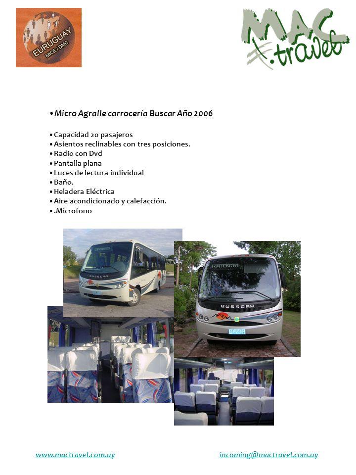 Micro Agralle carrocería Buscar Año 2006 Capacidad 20 pasajeros Asientos reclinables con tres posiciones. Radio con Dvd Pantalla plana Luces de lectur