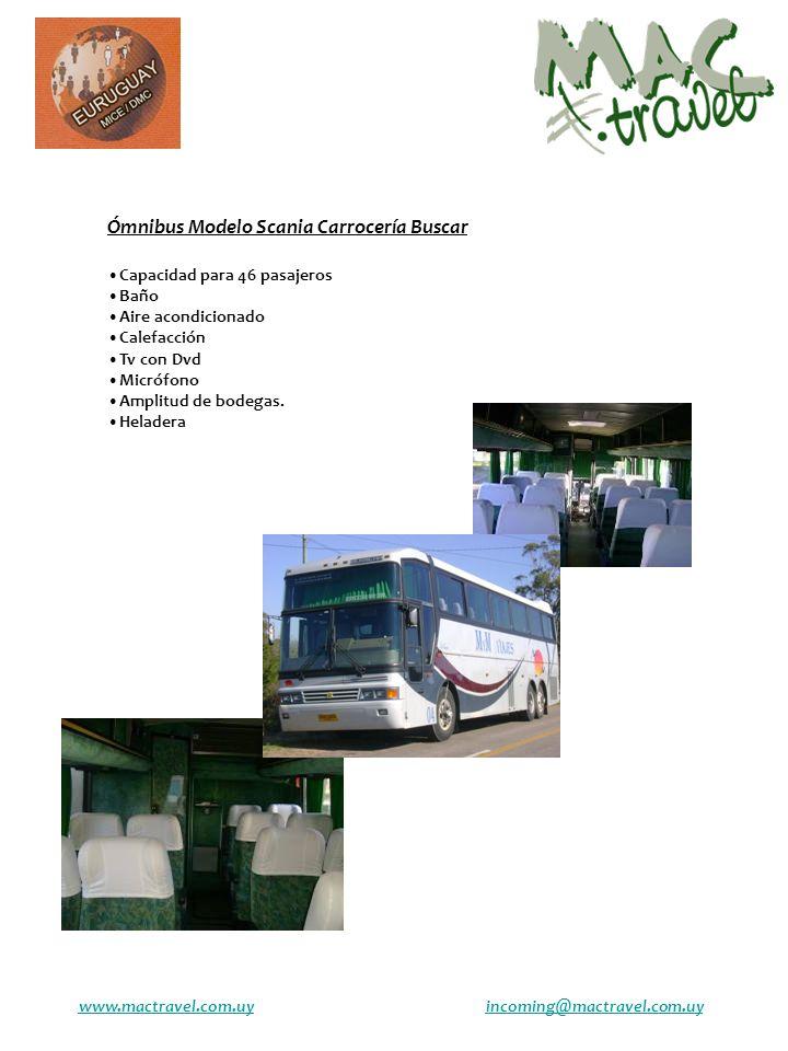 Ómnibus Modelo Scania Carrocería Buscar Capacidad para 46 pasajeros Baño Aire acondicionado Calefacción Tv con Dvd Micrófono Amplitud de bodegas.