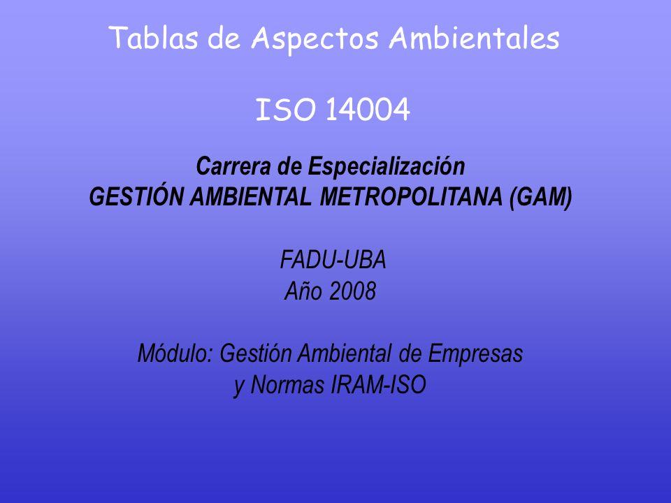 Tablas de Aspectos Ambientales ISO 14004 Carrera de Especialización GESTIÓN AMBIENTAL METROPOLITANA (GAM) FADU-UBA Año 2008 Módulo: Gestión Ambiental