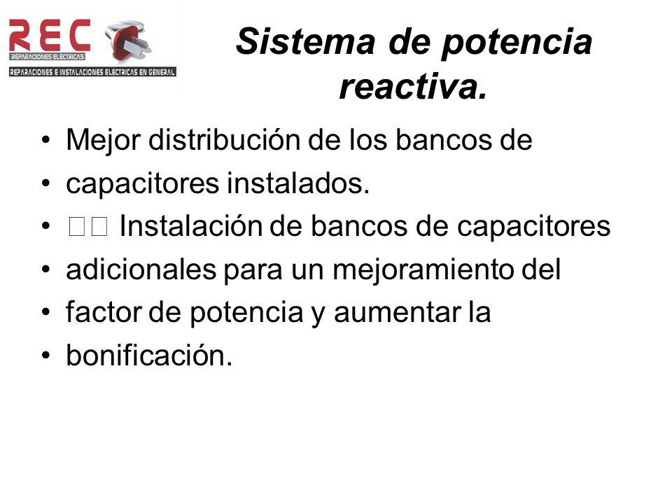 Sistema de potencia reactiva. Mejor distribución de los bancos de capacitores instalados.