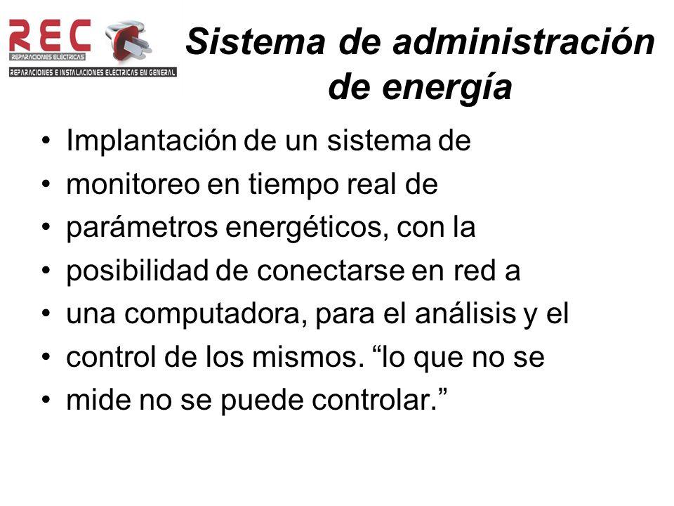 Sistema de administración de energía Implantación de un sistema de monitoreo en tiempo real de parámetros energéticos, con la posibilidad de conectarse en red a una computadora, para el análisis y el control de los mismos.