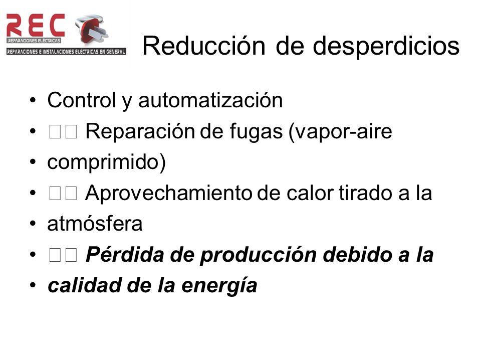 Reducción de desperdicios Control y automatización Reparación de fugas (vapor-aire comprimido) Aprovechamiento de calor tirado a la atmósfera Pérdida de producción debido a la calidad de la energía