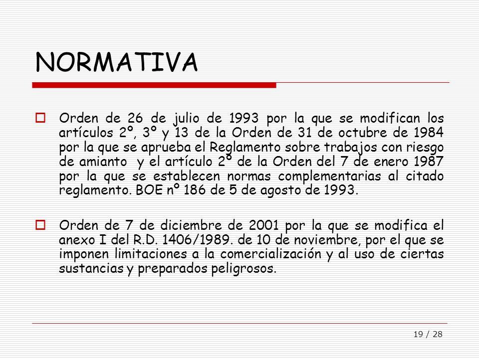 19 / 28 NORMATIVA Orden de 26 de julio de 1993 por la que se modifican los artículos 2º, 3º y 13 de la Orden de 31 de octubre de 1984 por la que se ap