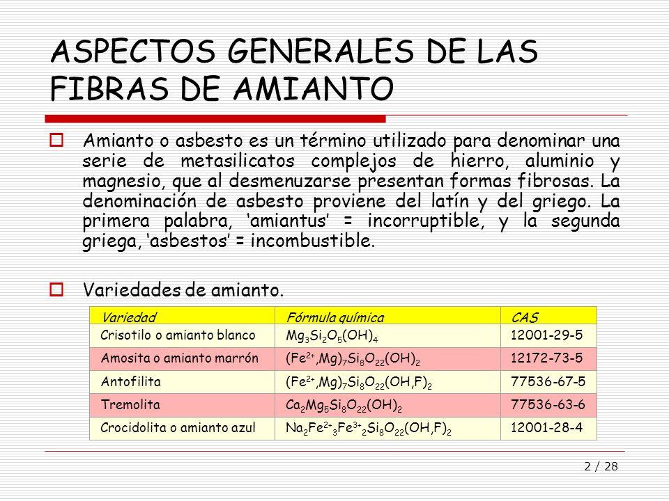 2 / 28 ASPECTOS GENERALES DE LAS FIBRAS DE AMIANTO Amianto o asbesto es un término utilizado para denominar una serie de metasilicatos complejos de hi