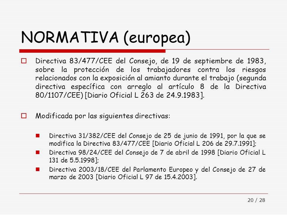 20 / 28 NORMATIVA (europea) Directiva 83/477/CEE del Consejo, de 19 de septiembre de 1983, sobre la protección de los trabajadores contra los riesgos