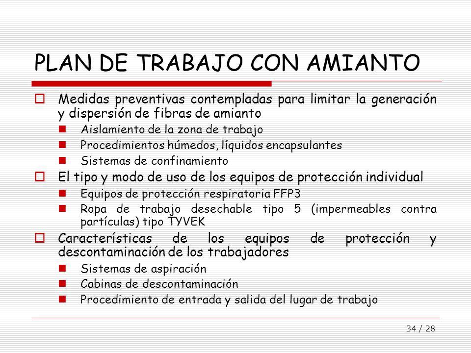 34 / 28 PLAN DE TRABAJO CON AMIANTO Medidas preventivas contempladas para limitar la generación y dispersión de fibras de amianto Aislamiento de la zo