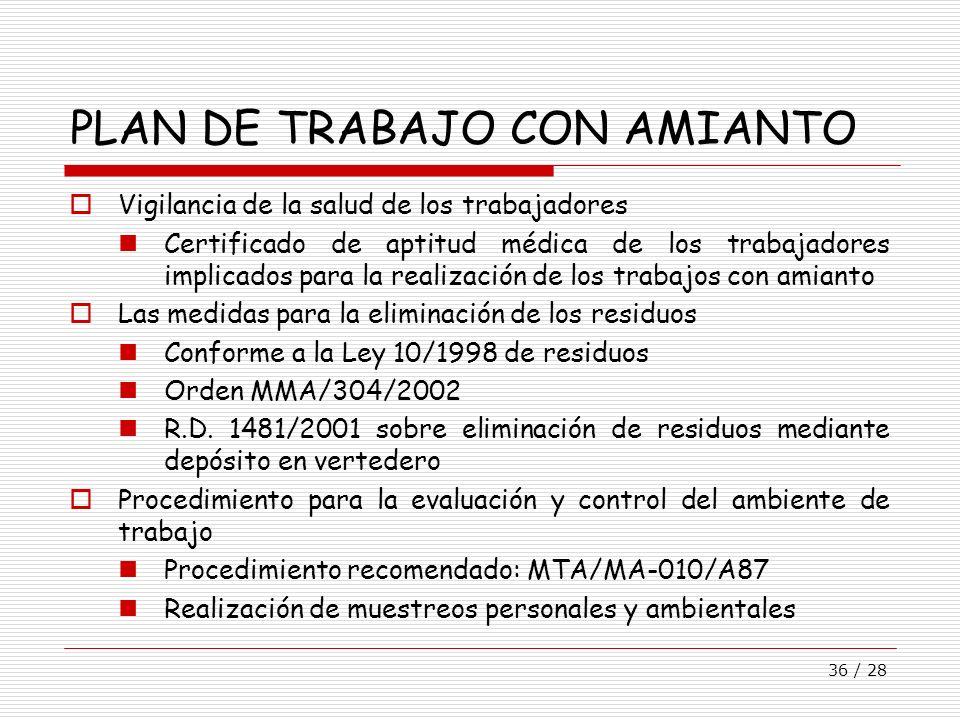 36 / 28 PLAN DE TRABAJO CON AMIANTO Vigilancia de la salud de los trabajadores Certificado de aptitud médica de los trabajadores implicados para la re