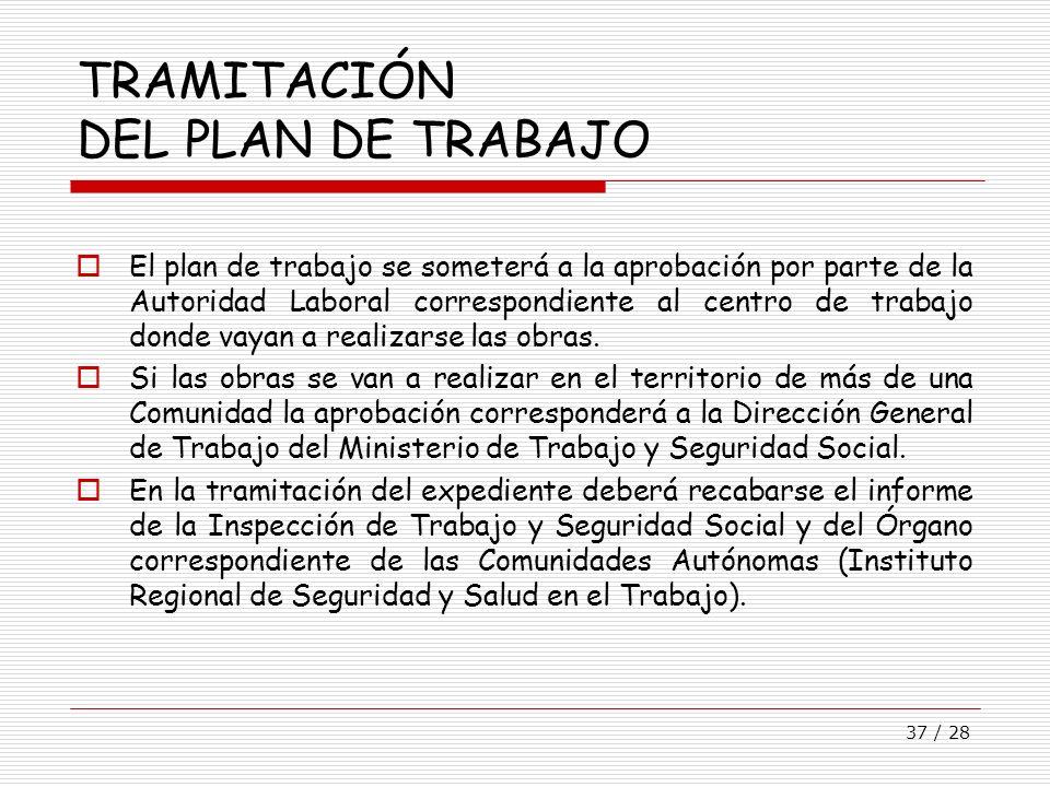 37 / 28 TRAMITACIÓN DEL PLAN DE TRABAJO El plan de trabajo se someterá a la aprobación por parte de la Autoridad Laboral correspondiente al centro de