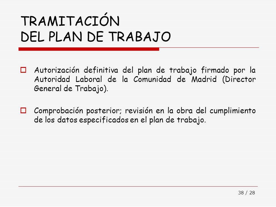 38 / 28 TRAMITACIÓN DEL PLAN DE TRABAJO Autorización definitiva del plan de trabajo firmado por la Autoridad Laboral de la Comunidad de Madrid (Direct
