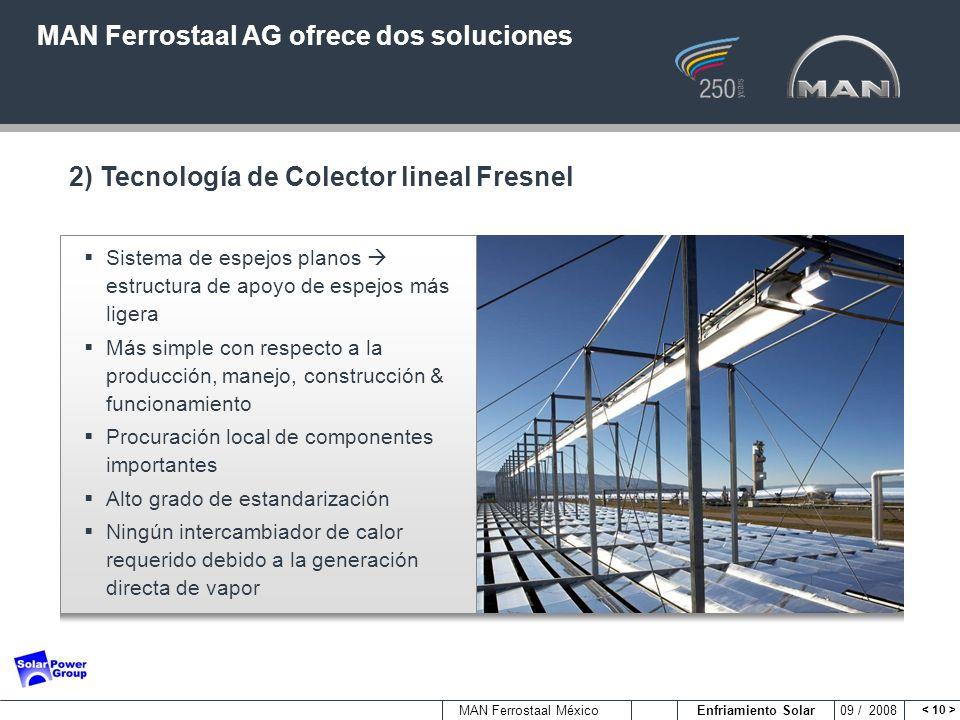 MAN Ferrostaal México Enfriamiento Solar 09 / 2008 Sistema de espejos planos estructura de apoyo de espejos más ligera Más simple con respecto a la pr