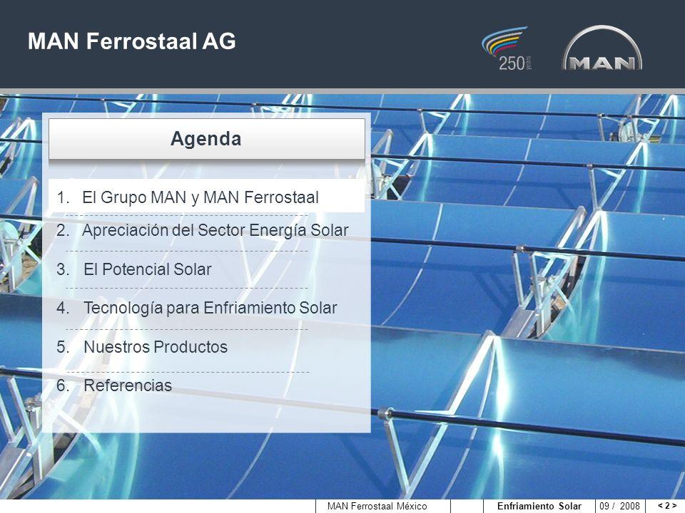 MAN Ferrostaal México Enfriamiento Solar 09 / 2008 Ingeniería del Grupo relacionada con Transporte y Energía2007 Ventas aprox.