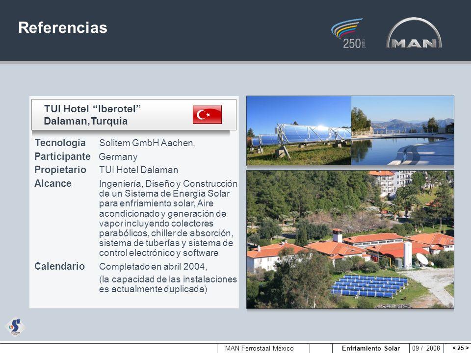 MAN Ferrostaal México Enfriamiento Solar 09 / 2008 Referencias TUI Hotel Iberotel Dalaman,Turquía Tecnología Solitem GmbH Aachen, Participante Germany