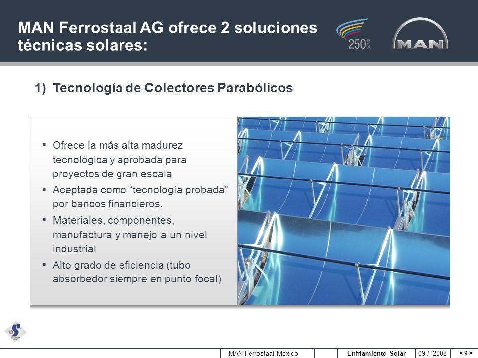 MAN Ferrostaal México Enfriamiento Solar 09 / 2008 MAN Ferrostaal AG ofrece 2 soluciones técnicas solares: Ofrece la más alta madurez tecnológica y ap