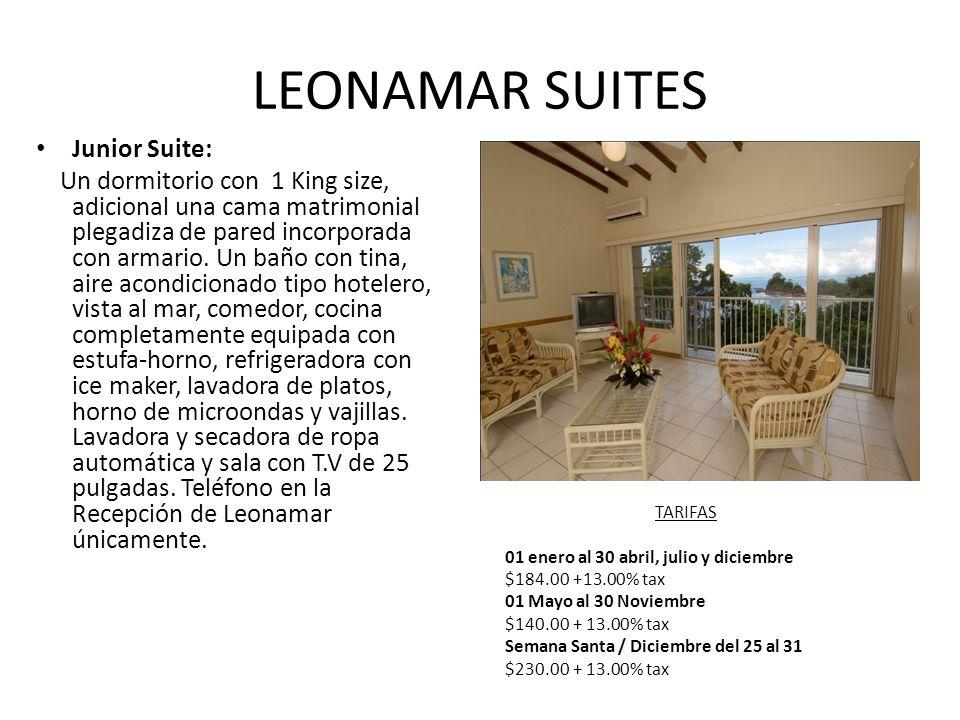 LEONAMAR SUITES Junior Suite: Un dormitorio con 1 King size, adicional una cama matrimonial plegadiza de pared incorporada con armario.