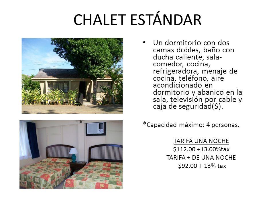 CHALET DOBLE Dos dormitorios con dos camas dobles cada uno.