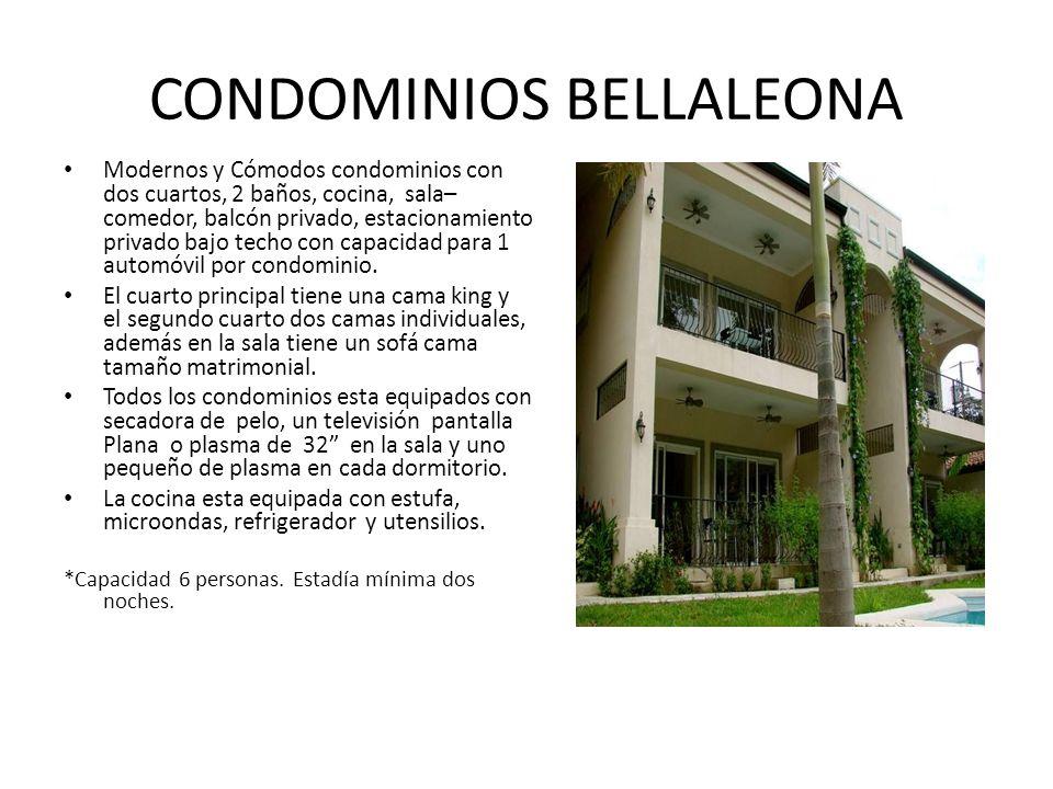 CONDOMINIOS BELLALEONA Modernos y Cómodos condominios con dos cuartos, 2 baños, cocina, sala– comedor, balcón privado, estacionamiento privado bajo techo con capacidad para 1 automóvil por condominio.