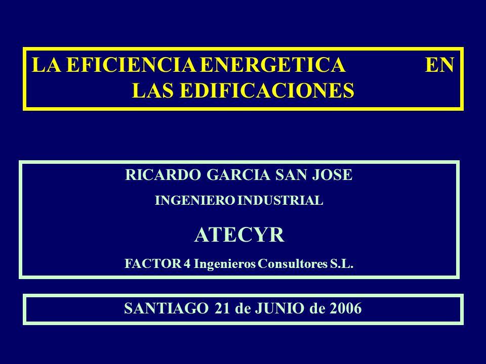 LA EFICIENCIA ENERGETICA EN LAS EDIFICACIONES RICARDO GARCIA SAN JOSE INGENIERO INDUSTRIAL ATECYR FACTOR 4 Ingenieros Consultores S.L. SANTIAGO 21 de
