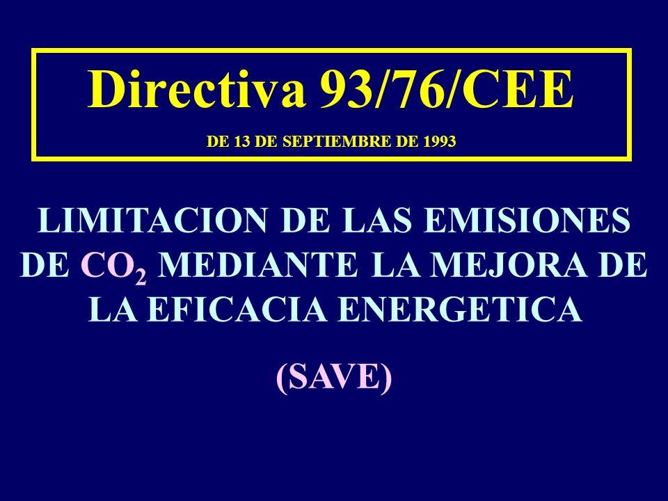 Directiva 93/76/CEE DE 13 DE SEPTIEMBRE DE 1993 LIMITACION DE LAS EMISIONES DE CO 2 MEDIANTE LA MEJORA DE LA EFICACIA ENERGETICA (SAVE)