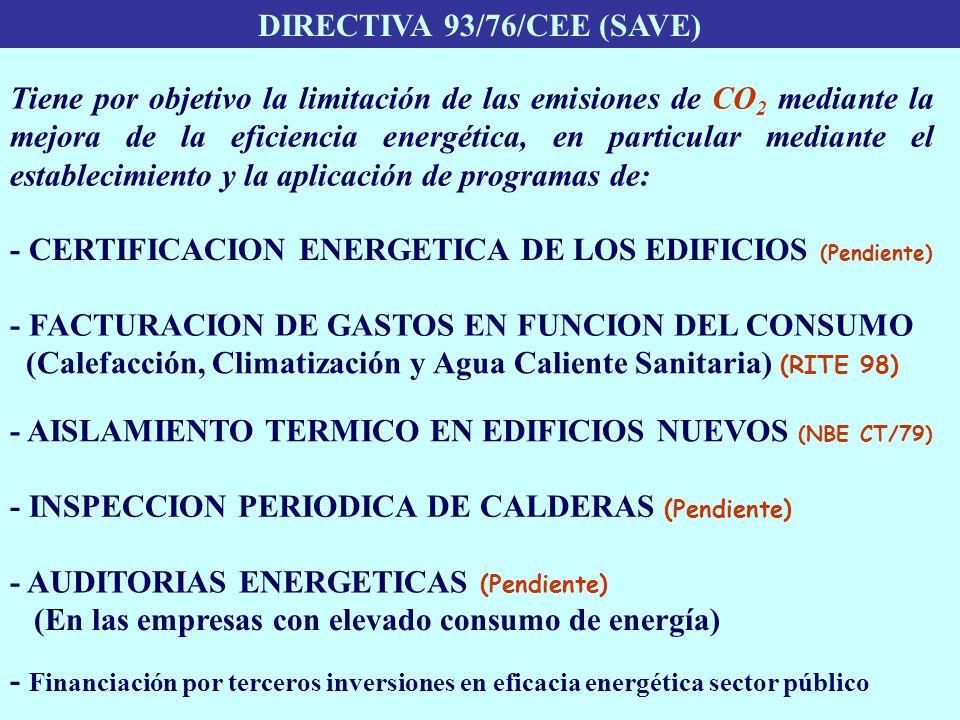 DIRECTIVA 93/76/CEE (SAVE) - CERTIFICACION ENERGETICA DE LOS EDIFICIOS (Pendiente) - AISLAMIENTO TERMICO EN EDIFICIOS NUEVOS (NBE CT/79) - INSPECCION