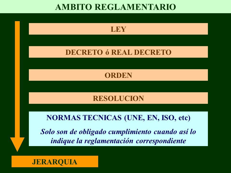 AMBITO REGLAMENTARIO LEY DECRETO ó REAL DECRETO ORDEN RESOLUCION NORMAS TECNICAS (UNE, EN, ISO, etc) Solo son de obligado cumplimiento cuando así lo i