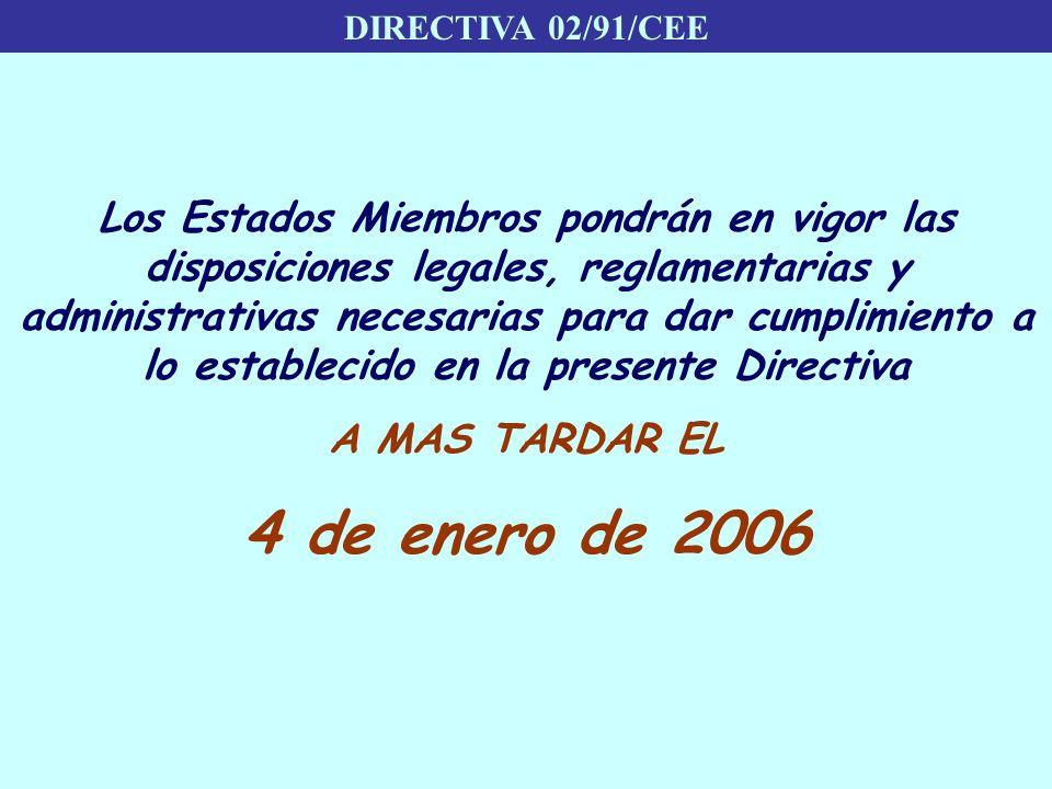 DIRECTIVA 02/91/CEE Los Estados Miembros pondrán en vigor las disposiciones legales, reglamentarias y administrativas necesarias para dar cumplimiento