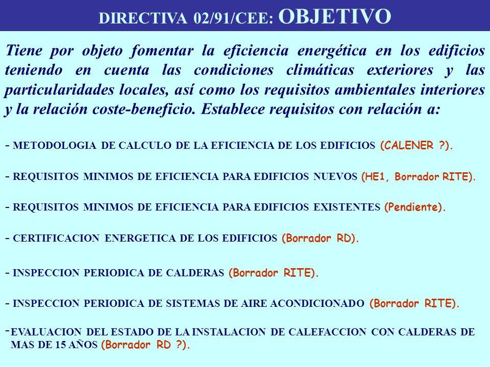 DIRECTIVA 02/91/CEE: OBJETIVO - METODOLOGIA DE CALCULO DE LA EFICIENCIA DE LOS EDIFICIOS (CALENER ?). - REQUISITOS MINIMOS DE EFICIENCIA PARA EDIFICIO