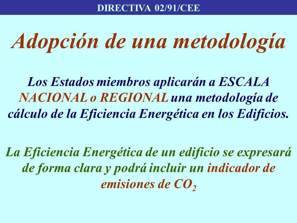 DIRECTIVA 02/91/CEE Adopción de una metodología Los Estados miembros aplicarán a ESCALA NACIONAL o REGIONAL una metodología de cálculo de la Eficienci