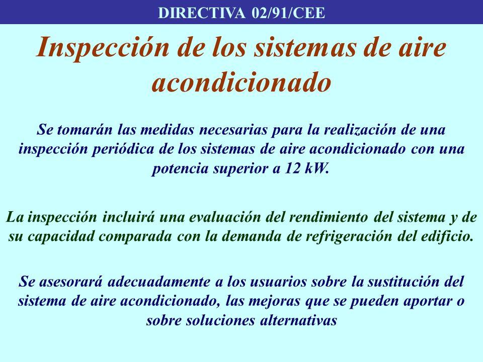 DIRECTIVA 02/91/CEE Inspección de los sistemas de aire acondicionado Se tomarán las medidas necesarias para la realización de una inspección periódica