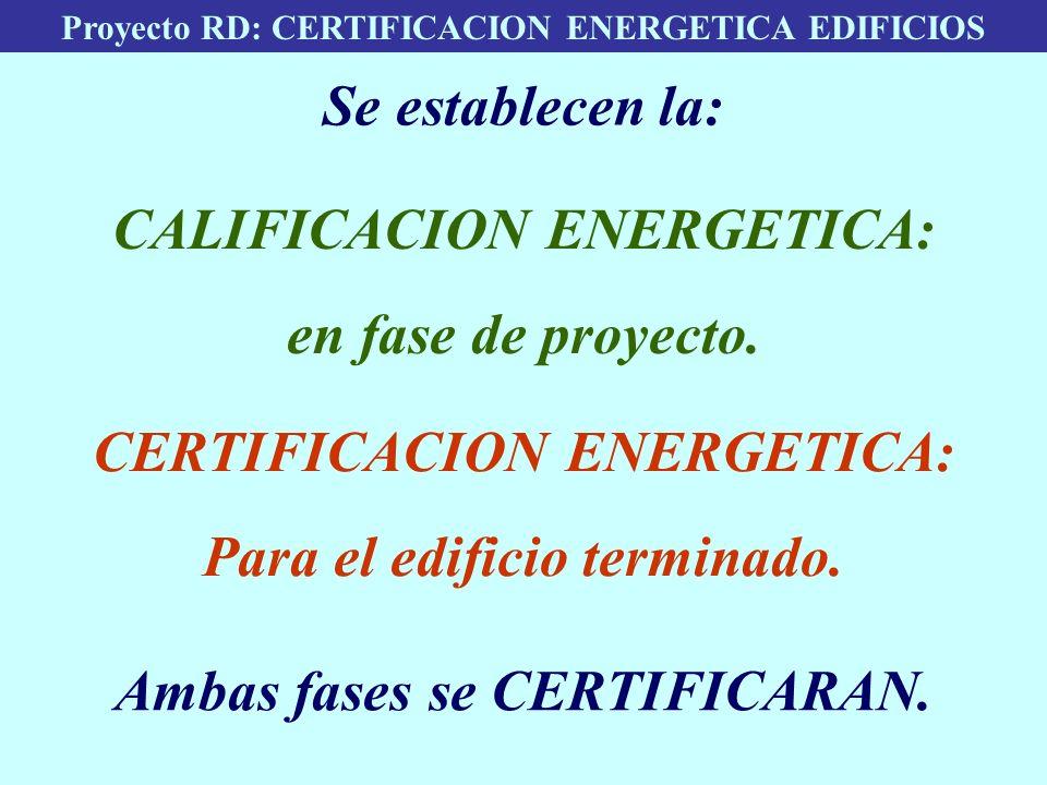 Proyecto RD: CERTIFICACION ENERGETICA EDIFICIOS Se establecen la: CALIFICACION ENERGETICA: en fase de proyecto. CERTIFICACION ENERGETICA: Para el edif