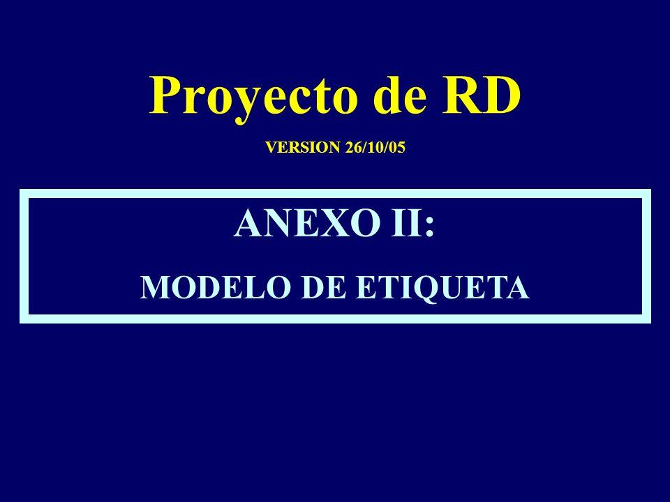 Proyecto de RD VERSION 26/10/05 ANEXO II: MODELO DE ETIQUETA