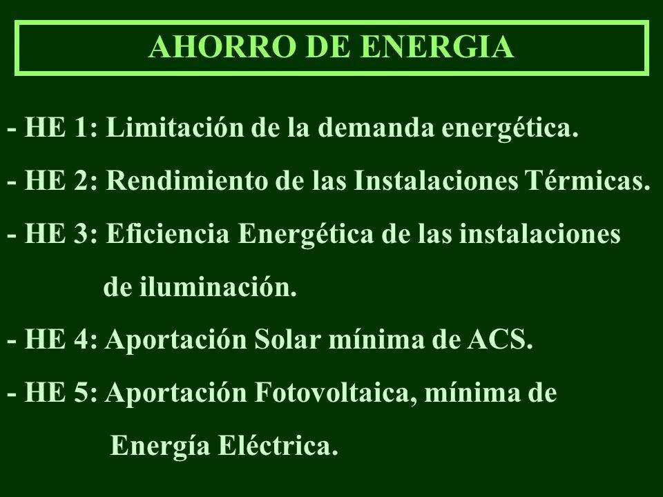 AHORRO DE ENERGIA - HE 1: Limitación de la demanda energética. - HE 2: Rendimiento de las Instalaciones Térmicas. - HE 3: Eficiencia Energética de las