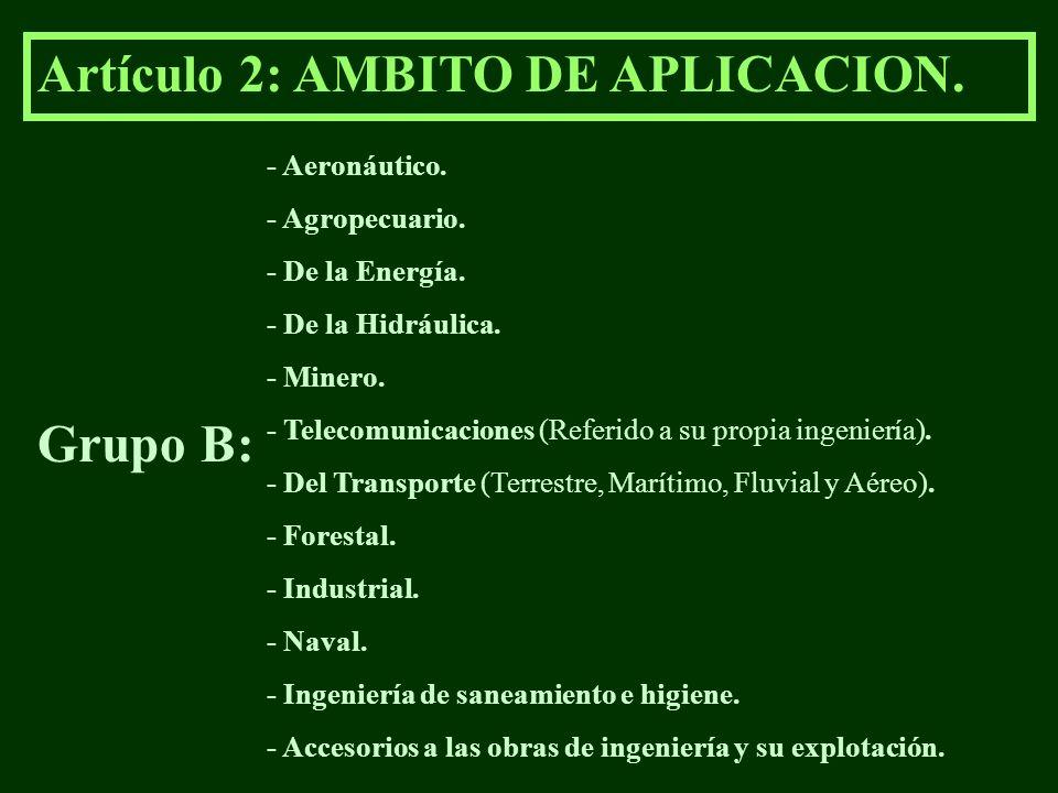 Artículo 2: AMBITO DE APLICACION. Grupo B: - Aeronáutico. - Agropecuario. - De la Energía. - De la Hidráulica. - Minero. - Telecomunicaciones (Referid