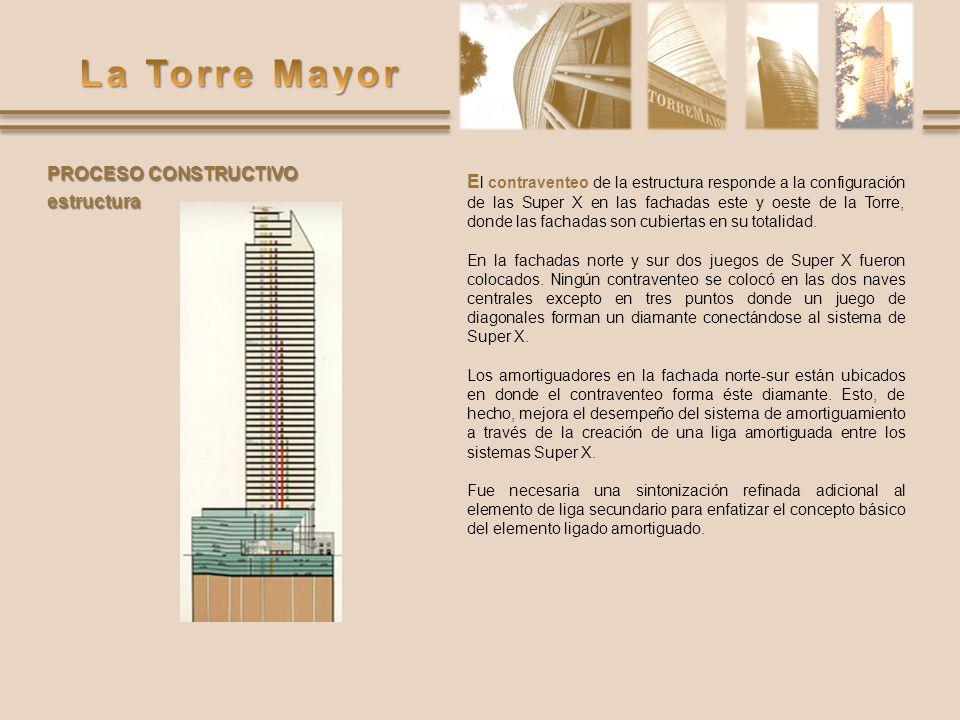 E l contraventeo de la estructura responde a la configuración de las Super X en las fachadas este y oeste de la Torre, donde las fachadas son cubierta