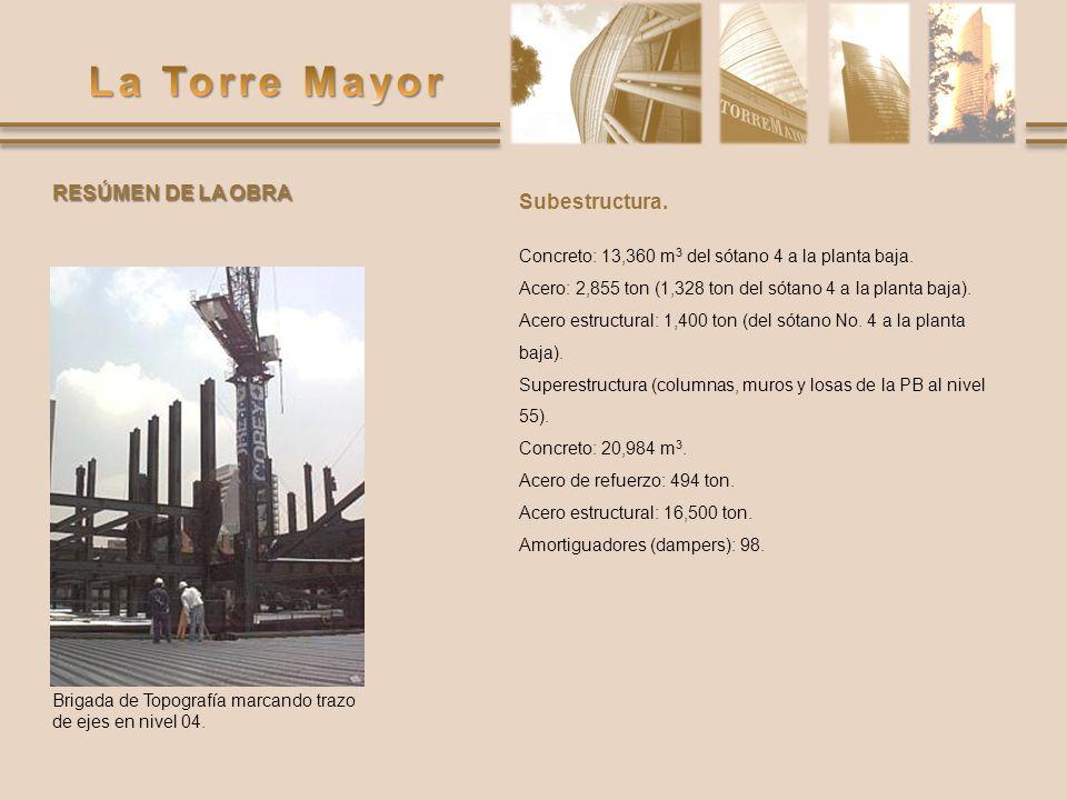 Subestructura. Concreto: 13,360 m 3 del sótano 4 a la planta baja. Acero: 2,855 ton (1,328 ton del sótano 4 a la planta baja). Acero estructural: 1,40
