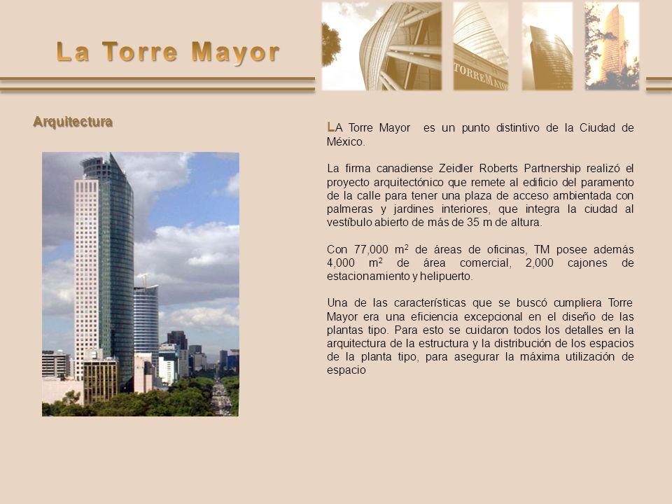 L A Torre Mayor es un punto distintivo de la Ciudad de México. La firma canadiense Zeidler Roberts Partnership realizó el proyecto arquitectónico que