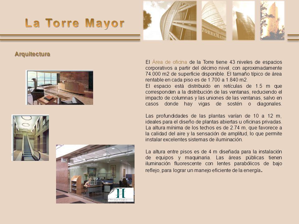 El Área de oficina de la Torre tiene 43 niveles de espacios corporativos a partir del décimo nivel, con aproximadamente 74.000 m2 de superficie dispon