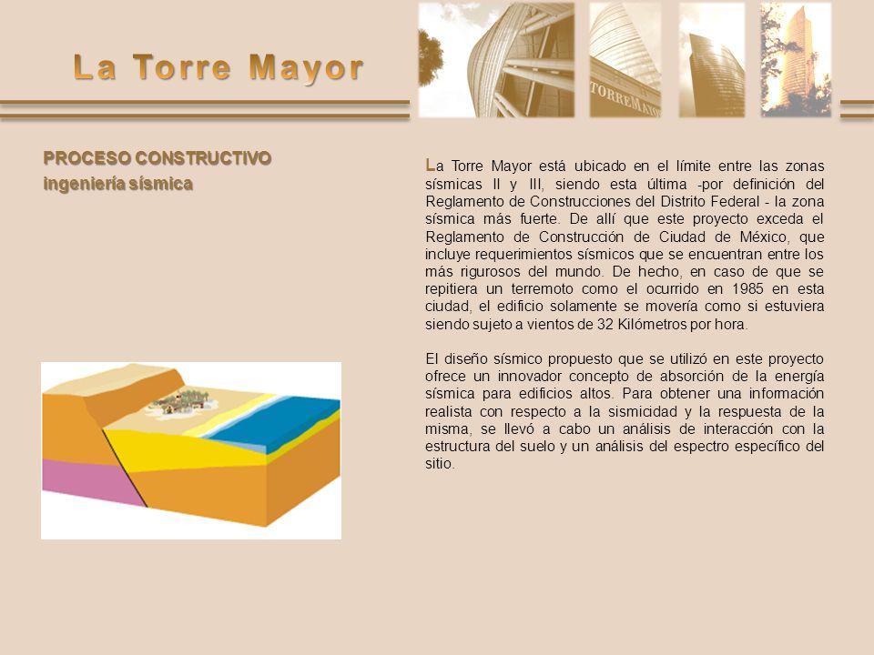 PROCESO CONSTRUCTIVO ingeniería sísmica L a Torre Mayor está ubicado en el límite entre las zonas sísmicas II y III, siendo esta última -por definició