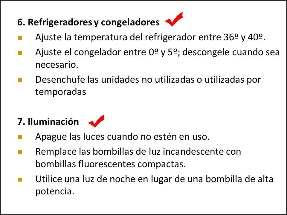 6. Refrigeradores y congeladores Ajuste la temperatura del refrigerador entre 36º y 40º. Ajuste el congelador entre 0º y 5º; descongele cuando sea nec