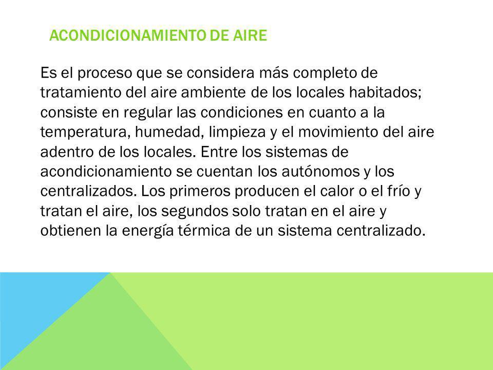 ACONDICIONAMIENTO DE AIRE Es el proceso que se considera más completo de tratamiento del aire ambiente de los locales habitados; consiste en regular las condiciones en cuanto a la temperatura, humedad, limpieza y el movimiento del aire adentro de los locales.