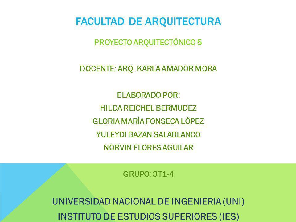 FACULTAD DE ARQUITECTURA PROYECTO ARQUITECTÓNICO 5 DOCENTE: ARQ.