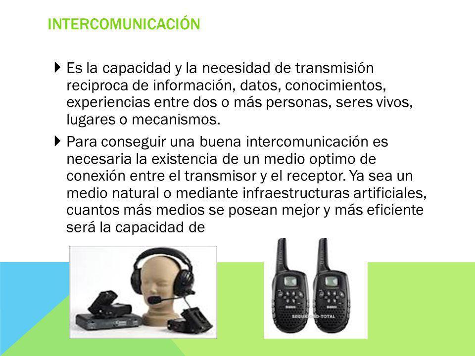 INTERCOMUNICACIÓN Es la capacidad y la necesidad de transmisión reciproca de información, datos, conocimientos, experiencias entre dos o más personas, seres vivos, lugares o mecanismos.