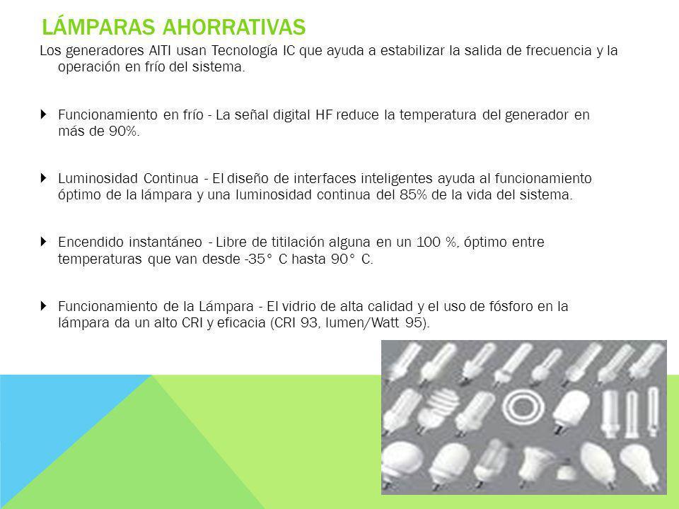 LÁMPARAS AHORRATIVAS Los generadores AITI usan Tecnología IC que ayuda a estabilizar la salida de frecuencia y la operación en frío del sistema.