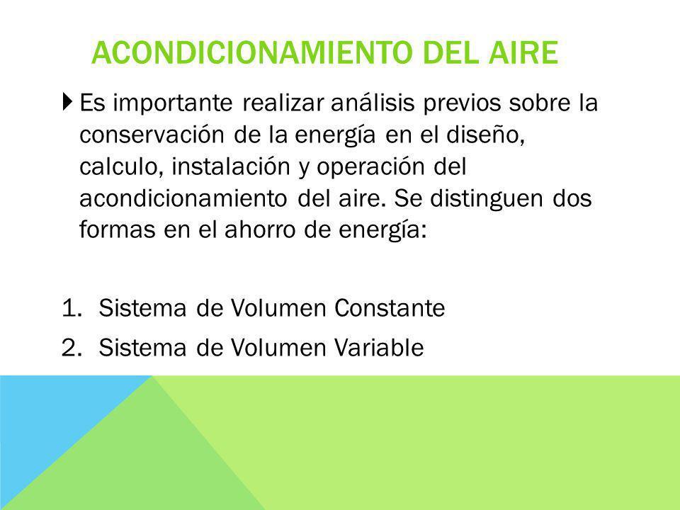 ACONDICIONAMIENTO DEL AIRE Es importante realizar análisis previos sobre la conservación de la energía en el diseño, calculo, instalación y operación del acondicionamiento del aire.