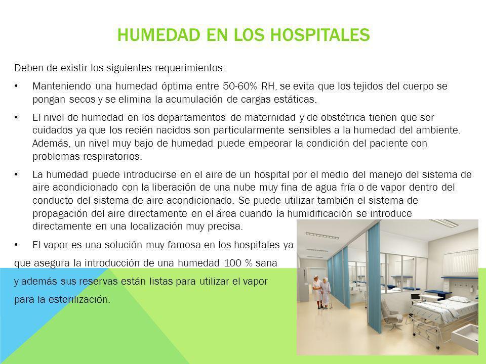 HUMEDAD EN LOS HOSPITALES Deben de existir los siguientes requerimientos: Manteniendo una humedad óptima entre 50-60% RH, se evita que los tejidos del
